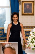 Michelle Obama wears a Cartier Tank Francaise