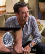 Jon Hamm wears a Fossil Aeroflite AM4512P watch in Keeping Up With The Joneses.