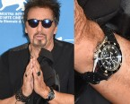 Al Pacino was seen wearing a Jaeger-LeCoultre Deep Sea Vintage Chronograph watch during the press conference at the Venice Film Festival