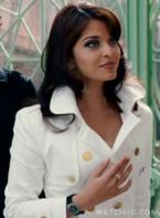 Aishwarya Rai wears a La Grande Classique de Longines with black dial and black