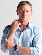 Daniel Craig wearing the special Omega DeVille Hour Vision Blue