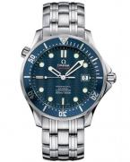 Omega Seamaster 2220.80.00 with blue bezel and steel bracelet, as worn by Daniel