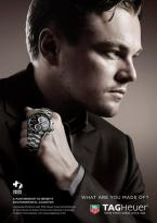 "In the ""What Are You Made Of"" ad campaign, Leonardo DiCaprio sports a TAG Heuer"