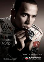 Lewis Hamilton with a TAG Heuer Carrera Calibre 16 Day-Date