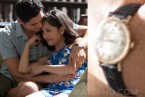 Henry Golding wears a vintage Omega Seamaster Deville gold watch with black strap in Crazy Rich Asians.
