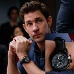 In the Amazon Prime tv series Jack Ryan (2018), actor John Krasinski wears a Hamilton Khaki Field Auto Chrono wristwatch.