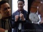 The watch worn by Jessie T. Usher in the 2019 movie of Shaft has a steel case, white dial and a light brown leather nato style strap.