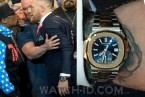 Conor McGregor wearing his Patek Philippe Nautilus during the press conference on 11 July 2017 at Staples Center with Floyd Mayweather