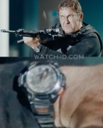 Gerard Butler wears a black sportswatch in the 2019 action film Angel Has Fallen.