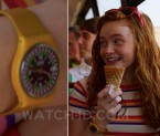"Sadie Sink, as Maxine ""Max"" Mayfield, wears a Swatch Yellow Racer in the third season of Stranger Things."