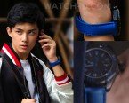 Leo Wu Lei wears a TAG Heuer Aquaracer Titanium Blue in S.M.A.R.T. Chase