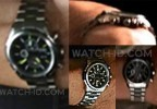 The watch worn by Vin Diesel has a black dial, steel case and chronograph subdials.