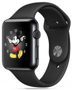 Apple Watch, black case, black strap