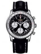 Breitling Navitimer, chronometer, black dial, white subdials, black leather stra