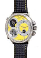 Curtis & Co. Big Time World on Ice, 3 time zone settings with black leather stra