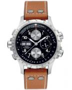 Hamilton Khaki X-Wind Automatic, light brown leather strap, black dial, ref. H77