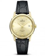 Hamilton Thin-O-matic, yellow gold, black leather strap