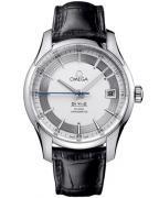 Omega DeVille Hour Vision with steel case, steel dial and black leather strap, R