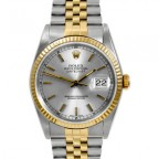 Similar but not the same: Rolex Oyster Perpetual Datejust with gold jubilee bracelet and bezel.