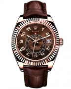 Rolex Sky-Dweller Oyster in Everose Gold with brown leather strap