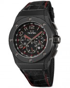 TW Steel CEO Tech CE4008 (44 mm) or CE4009 (48mm), black dial, black case, black leather strap