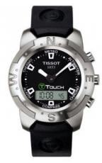 Tissot T-Touch T33159851, with green T logo, black dial and the same bezel as in