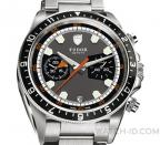 Tudor Heritage Chrono with steel bracelet and grey dial (black subdials)