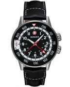 Wenger Commando GMT 74745 Swiss Army watch, black leather strap (74745)