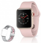 Rose Gold Apple Watch 3 and a similar pink silver two-tone steel bracelet