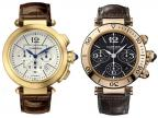 On the left the Cartier Pasha Chronograph Yellow Gold W3020151; on the right a C