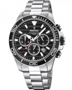 Festina Sport F20361/4 chronograph watch with steel case, black dial and black bezel