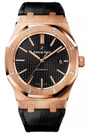 Audemars Piguet Black Oak Automatic 15400OR.OO.D002CR.01, 41mm pink gold case with alligator strap