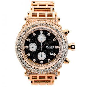 Aximum King Pro in Rose Gold, gold bracelet, black dial, diamonds