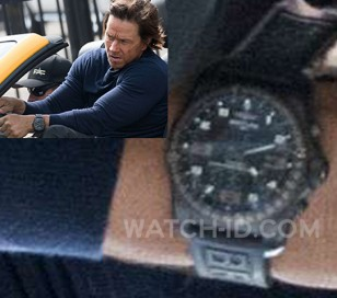 Mark Wahlberg wears a Breitling Cockpit B50 Night Mission on the set of the 2017 film Transformers: The Last Knight.