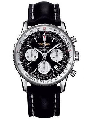 Breitling Navitimer, chronometer, black dial, white subdials, black leather stra
