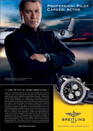 John Travolta in a 2007 ad for Breitling Navitimer.