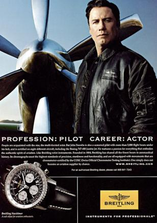 John Travolta in a 2008 ad for Breitling Navitimer.