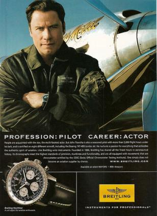 John Travolta in a 2009 ad for Breitling Navitimer.
