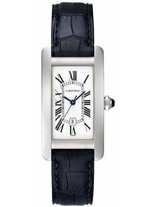 Cartier Tank Americaine, white gold case, white dial and black leather strap