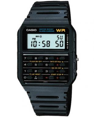 Casio CA53W-1 watch with 8-digit calculator, dual time, alarm and stopwatch.