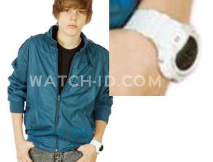 Justin Bieber wearing the Casio G-Shock DW6900FS-8 on a promotional photo