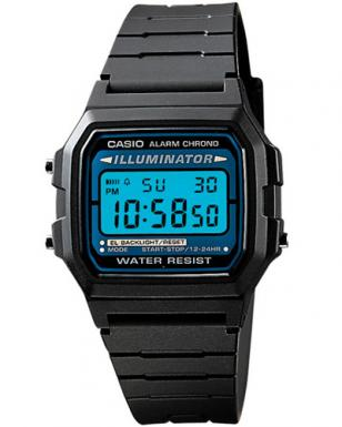 Casio F105W-1A Illuminator Digital Watch. This image shows watch with the blue E