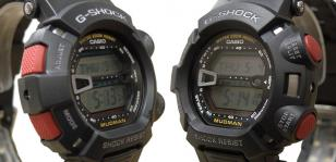 The sides of the Casio G-Shock G9000-1V Mudman with the typical large red button