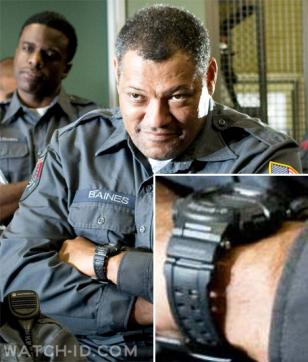 Laurence Fishburne, as Baines, wears a Casio G-Shock GW9000A-1  watch in the mov