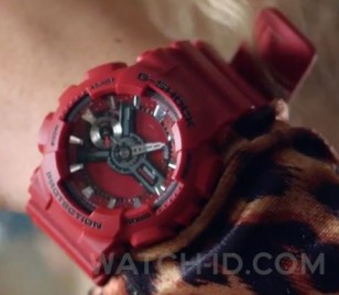 Britney Spears wears a Casio G-Shock GMA-S110F-4A watch in the music video Pretty Girls.