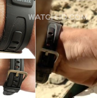 Compare the band of the Casio Pro Trek PAG 240 (left) with the strap in the film