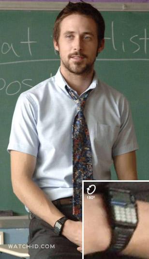 Ryan Gosling wears a Casio DBC150B-1DF data bank calculator watch in the movie H