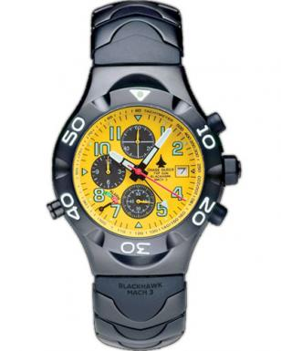 Chase-Durer Blackhawk Mach 3 watch, with black case and yellow dial