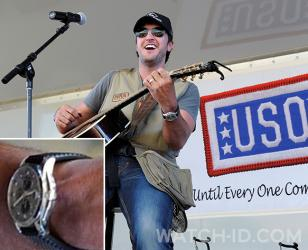 Luke Bryan wearing the Chopard Mille Miglia GT XL Chrono 2010 during a performance