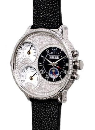 Curtis & Co. Big Time Air Diamond Set, with black leather strap and diamond encr